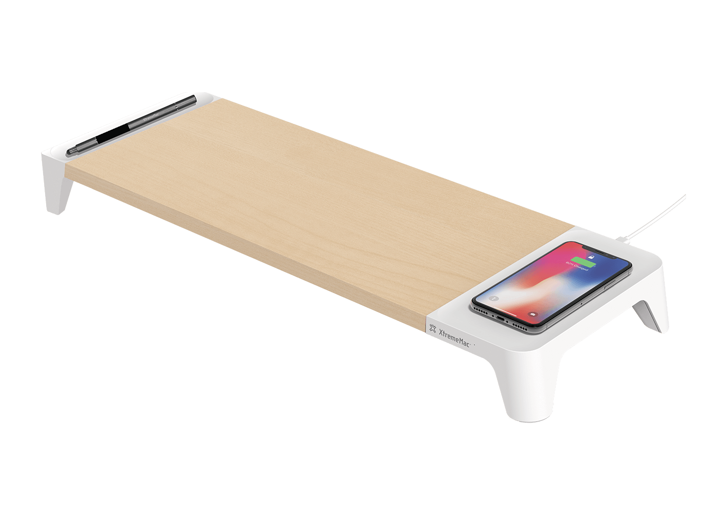 wooden stand with wireless charging xtrememac. Black Bedroom Furniture Sets. Home Design Ideas